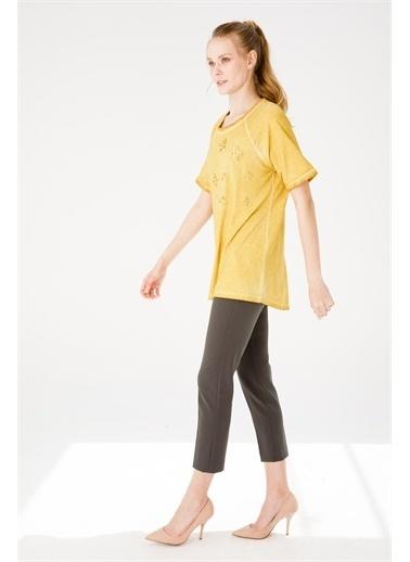 Desen Triko Bluz Sarı